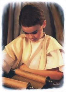 Jesus som barn leser